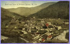 Postcard BIRD'S-EYE VIEW of WEBSTER SPRINGS, Webster County, WV c. 1910