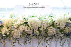 メインテーブル装花 ホワイト ブルー