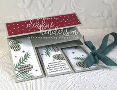 Fan Fold Card Fold with Tutorial included. Stampin' Up! Christmas Pines, Pretty Pines and Be Merry DSP. Debbie Henderson, Debbie's Designs.#debbiehenderson #debbiesdesigns #stampinup #fanfold #fanfoldcardfold #tutorial
