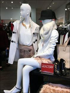 """""""Black Hat"""" normally refers to the bad guys, but here BCBG® Max Azria uses one as a counterpoint to Winter White apparel merchandising. A nice point of focus, and since no such hats were offered in. Clothing Displays, Max Azria, Winter White, Gorgeous Women, Women's Clothing, Winter Jackets, Retail, Window, Hat"""