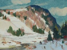 """Clarence Gagnon - """"Early Spring"""" - Monotype on wove paper Canadian Painters, Canadian Artists, Quebec, Clarence Gagnon, Collages, Kashmir India, Group Of Seven, Illustration Art, Illustrations"""