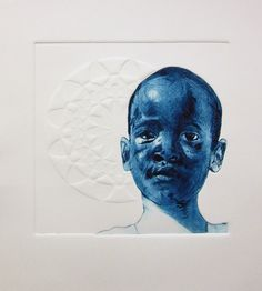 2016 Art Exchange: Mexico - Participating SA Artist - Bambo Sibiya - Nthando II - Drypoint Etching with Embossing