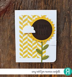 Card by Amy Rohl. Reverse Confetti stamp set: Whole Lotta Happy. Confetti Cuts: Flowers for Mom and Weather It Together. Quick Card Panels: So Very Spring. Sunflowers. Friendship card. Birthday card.
