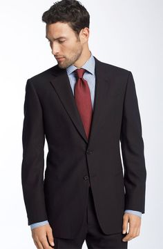 Armani Collezioni Trim Fit Black Wool Suit available at Nordstrom Mens Business Professional, Business Attire For Men, Professional Dresses, Business Formal, Business Wear, Navy Wool Suit, Interview Suits, Interview Clothes, Formal Dresses For Men