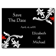 Black with White, Red Damask Wedding Save The Date Post Card
