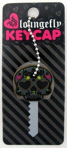 Loungefly Key Cap Cover Grey Black Sugar Skull Heart Eyes Flowers Rubber