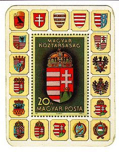 Hungarian stamp depicting crests thru the centuries