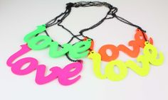 Wholesale 4 Colors Lovely Simple Style Letter LOVE Fluorescence Pendant Necklace