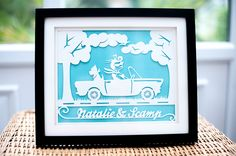 This fabulous handmade papercut was designed as a gift for a lady who loves her 1967 Triumph and her little dog. Retro style lady driving with her little dog If you are looking for a unique gift for someone then get in touch and we can discuss a design just for you in any colours you like. Visit my Etsy Store: https://www.etsy.com/uk/listing/203737359/vintage-themed-papercut-lady-in-retro