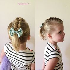 braid and pony baby girls hairstyle