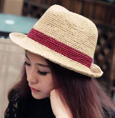 Color block panama hat for women straw crimping hats