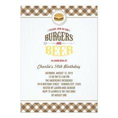 Brown Checks Burgers & Beer Summer Birthday Party Custom Invites