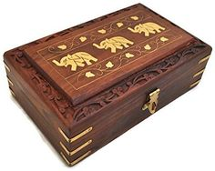 StarZebra Diwali Clearance sale  Unique Artisan Hand Carved Elephant Rosewood Jewelry Box From India  Lovely Gift Ideas -- You can get more details by clicking on the image.