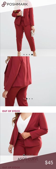 """Asos Curve suit set - blazer and pants Asos Curve suit set - blazer and ankle pants Both pants and blazer plus size 16 Outfit worn once, like new condition  blazer originally cost $64 Pants originally cost $43 Asos calls the color """"dusky plum"""". It's a maroon color Super chic outfit! Looks great with a blouse or cami.  Looks good with flats, heels, etc.  Both items also look great worn separately. Pants Ankle & Cropped"""