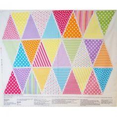 Bunting Polka Dots Stars Stripes Multi Colour Panel 100% Cotton Fabric