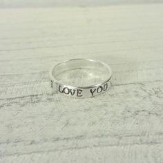"""Personalized """"I love you"""" sterling silver ring. Great idea for an affordable promise ring."""