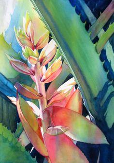 """Judy Nunno (American) """"Here Comes the Sun"""" ~ watercolor"""