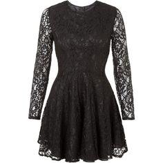 John Zack Black Long Sleeve Lace Skater Dress (€50) ❤ liked on Polyvore featuring dresses, short dresses, long-sleeve mini dress, lace cocktail dress, black fit and flare dress, black dress and short party dresses