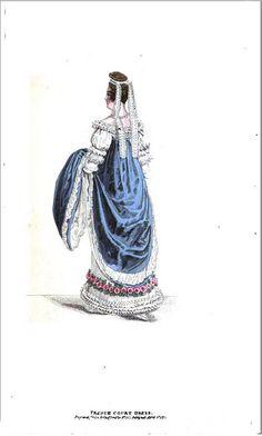 1818 Regency Fashion Plate - French Court Dress (La Belle Assemblee Magazine)