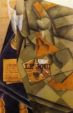 Still Life - Juan Gris completion date 1914 synthetic cubism Pablo Picasso, Georges Braque, Rene Magritte, Henri Matisse, Be Still, Still Life, Synthetic Cubism, Francis Picabia, Cubism Art