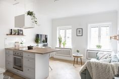 Small Scandinavian living space with open kitchen