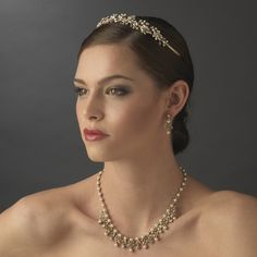 Elegant Gold Plated Wedding Tiara with Matching Jewelry set - sale! - Affordable Elegance Bridal -