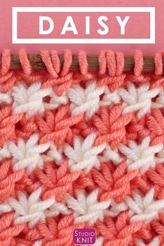 This pretty vintage Daisy Stitch brioche knitting pattern is a Repeat and the design really pops when you use 2 yarn colors. Knitting Stiches, Loom Knitting, Knitting Patterns Free, Crochet Stitches, Knitting Videos, Stitch Patterns, Knit Crochet, Crochet Patterns, Free Pattern