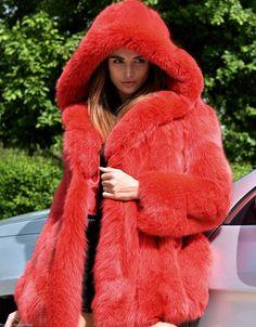 New Rose Royal Saga Fox Fur Coat Hood Class Sable Mink Lynx Silver Long Jacket | eBay