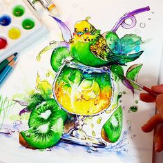 100% BUDGIE BUDGIE Drink with Kiwi flavour ♡♡♡ It is available as original illustration at my Store -->> www.naschi.storenvy.com  #budgie #budgies #bird #cocktail