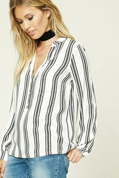 Forever 21 Contemporary - A woven top featuring an allover contrast-striped pattern, V-neckline, partial button front, a left chest patch pocket, and long cuff sleeves. Printed Tees, Get Dressed, Latest Trends, Street Style, Clothes For Women, Stylish, Shopping, Dresses, Contemporary