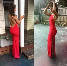 pink backless tight red prom floor length Dress - floor length prom dress, knee length prom dresses