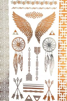 Dream Catcher Wings Metallic Flash Tribal Temporary Tattoos