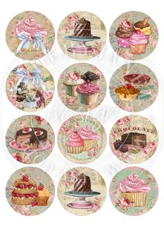 Little Patisserie  25 inch circles  set of 12  by bydigitalpaper, $4.55