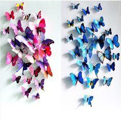 Frete Grátis O mais novo Top Qualidade colorido etiqueta Home Hotel Decal Presente Decor Car Frigorífico borboleta 3D Stickers Recados 9.66
