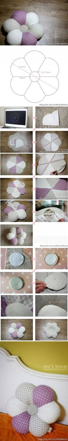 How to sew Flower down Pillows step by step DIY tutorial instructions / How To Instructions