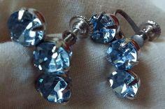 Vintage Sky Blue Rhinestone Screw Back Earrings