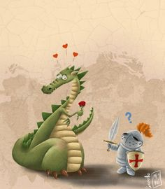 Sant Jordi i Drac Dragon Hatchling Egg Baby Babies Cute Funny Humor Fantasy Myth Mythical Mystical Legend Dragons Wings Sword Sorcery Magic Art Fairy Maiden Whimsy Whimsical Drache drago dragon Дракон drak dragão Saint George And The Dragon, Dragon's Lair, Dragon Images, Cute Dragons, Dragon Art, Sword And Sorcery, Children's Book Illustration, Art Plastique, Mythical Creatures