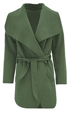 Janisramone Womens Ladies New Drape Belt Waterfall Short Jacket Long Sleeve Cape Baggy Trench Coat ** Want additional info? Click on the image.(This is an Amazon affiliate link and I receive a commission for the sales)