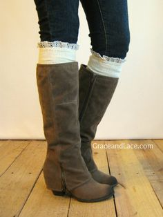 #pintowin The Milly Lace  Cream Cableknit Boot Socks w/ by GraceandLaceCo, $34.00