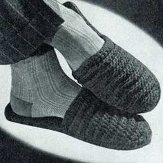 Men's Scuffs | No. 4708 | Free Crochet Pattern originally published in Slippers, Star Book No. 47