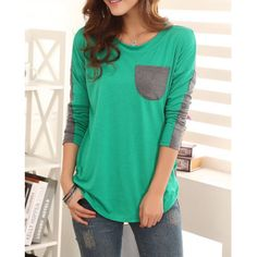 Color Block Ladylike Style Pocket Splicing Bat-Wing Sleeves Women's T-shirt | TwinkleDeals.com