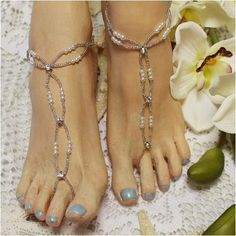 ef6b4792bf8d6e BEAD Barefoot Sandals - OOAK. Silver seed bead and pearl foot jewelry that  is simply beautiful for your beach wedding