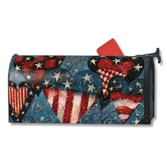 MailWraps Patriotic Hearts Magnetic Mailbox Cover $16.95 Magnetic Mailbox Covers, American Flag Colors, 4th Of July Celebration, Milk Cans, Outdoor Projects, Four Seasons, Things To Buy, Mail Boxes, Red And White