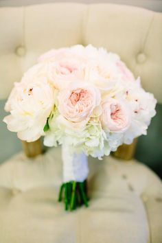 Bridal bouquet idea: lush, blush garden roses and fluffy white hydrangea | Rustic, Luxe, Romantic Texas Ranch Wedding at Camp Lucy | Al Gawlik Photography | Whim Floral