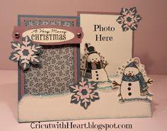 Snowman Side Step Card  CricutwithHeart.blogspot.com