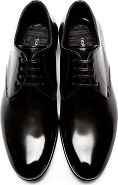 The Best Men's Shoes And Footwear : Dolce & Gabbana: Black Buffed Leather Classic Derbys - Mode Shoes, Women's Shoes, Me Too Shoes, Shoe Boots, Dress Shoes, Shoes Men, Shoes Style, Dress Clothes, Shiny Shoes
