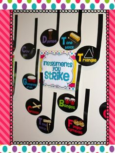 """Decorate your classroom with this delightful bulletin board display that identifies percussion instruments as """"instruments we shake"""", """"instruments we strike"""" and """"instruments we play"""". 18 classroom percussion instruments are cleverly displayed inside a music note each and name labelled for your elementary music classroom."""