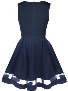Peekaboo Twirl Dress   Navy Blue Mesh A-Line Party Dresses   RicketyRack.com