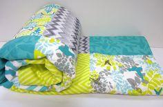 Bedding Quilt Baby-Modern-Gender Neutral Baby Bedding-Humming Bird Crib Blanket-Chevron-Teal-Charcoal Gray-Citron