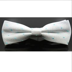 Silver With Blue Dots Tuxedo Bow Tie